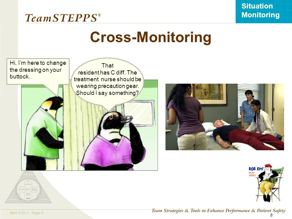 Cross-Monitoring Hi, I'm here to change the dressing on your buttock.
