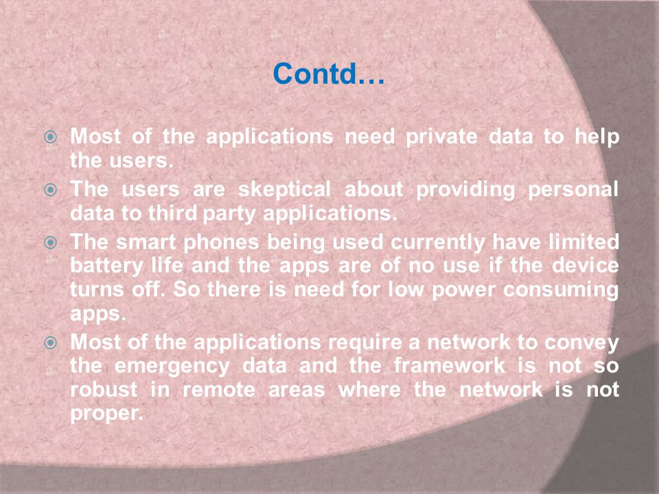 Contd… Most of the applications need private data to help the users.