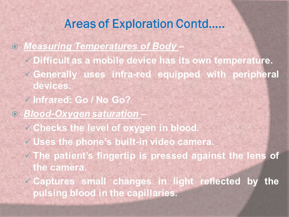Areas of Exploration Contd…..