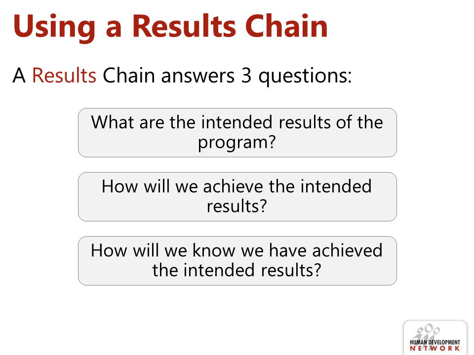 Using a Results Chain A Results Chain answers 3 questions: