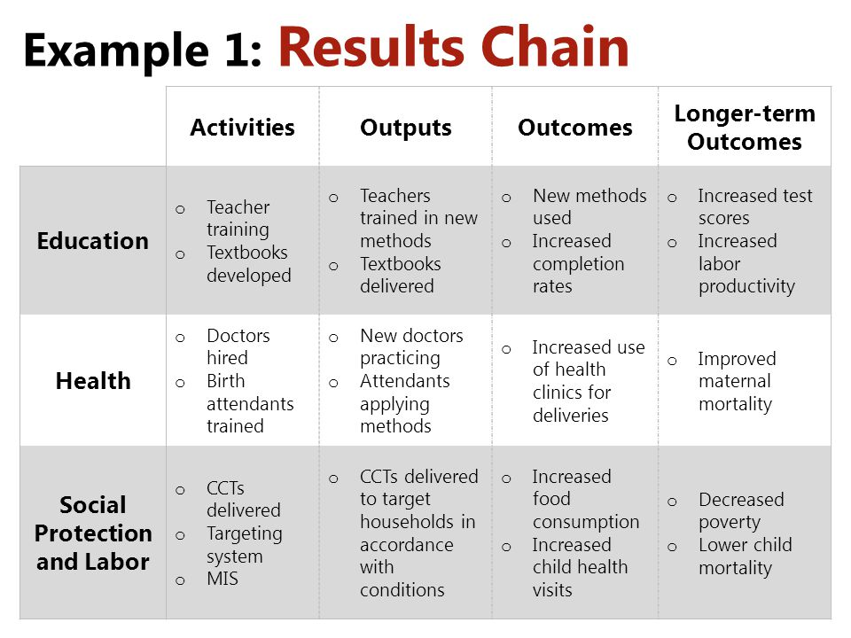Example 1: Results Chain