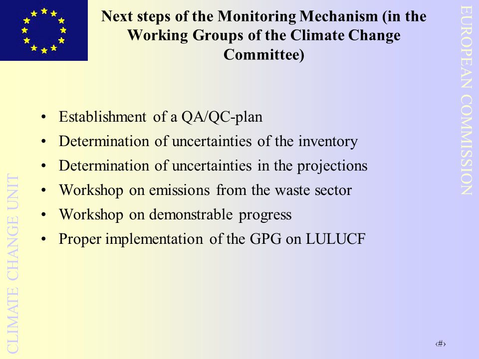 Next steps of the Monitoring Mechanism (in the Working Groups of the Climate Change Committee)
