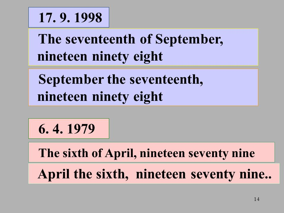 17. 9. 1998 The seventeenth of September, nineteen ninety eight. September the seventeenth, nineteen ninety eight.