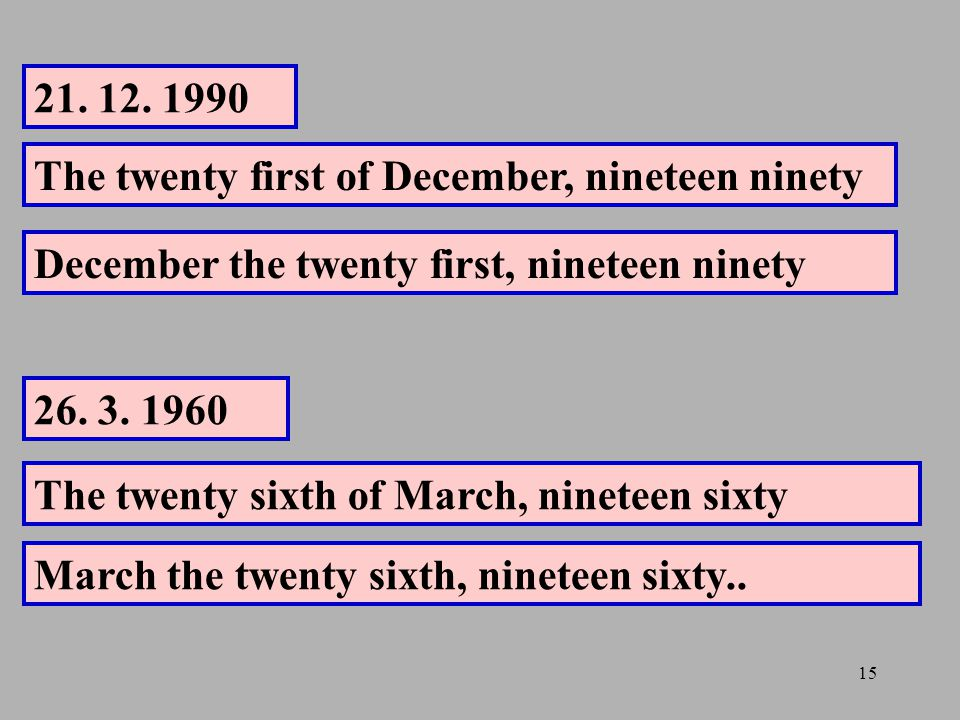 21. 12. 1990 The twenty first of December, nineteen ninety. December the twenty first, nineteen ninety.