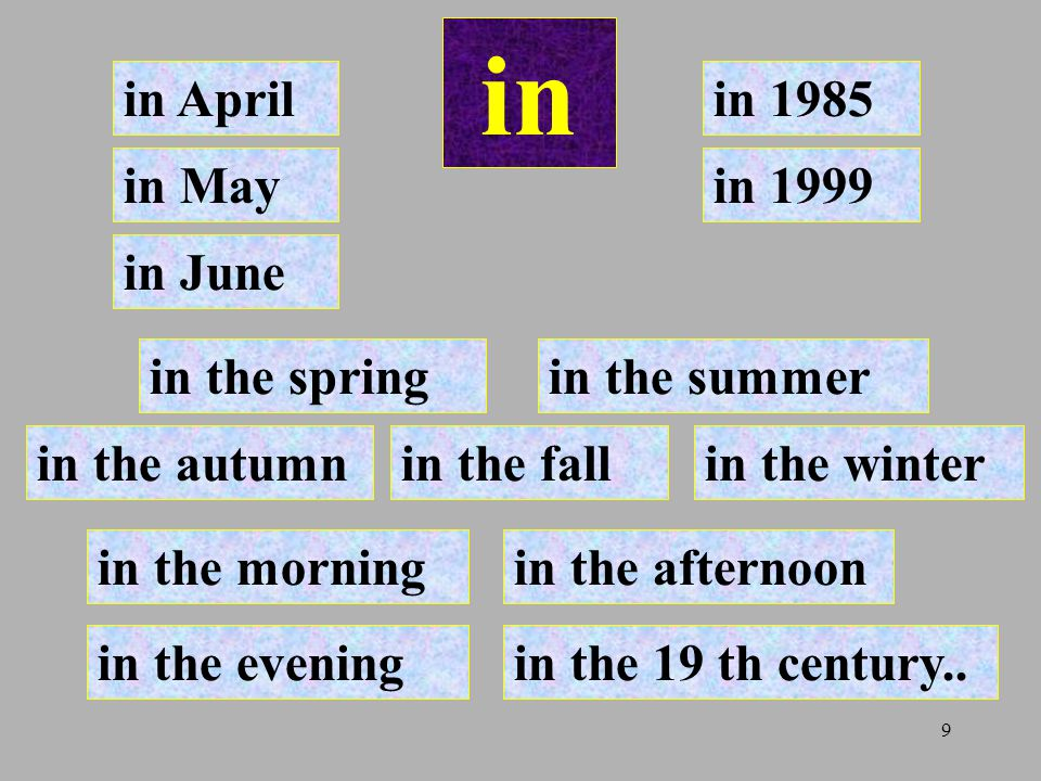 in in April in 1985 in May in 1999 in June in the spring in the summer