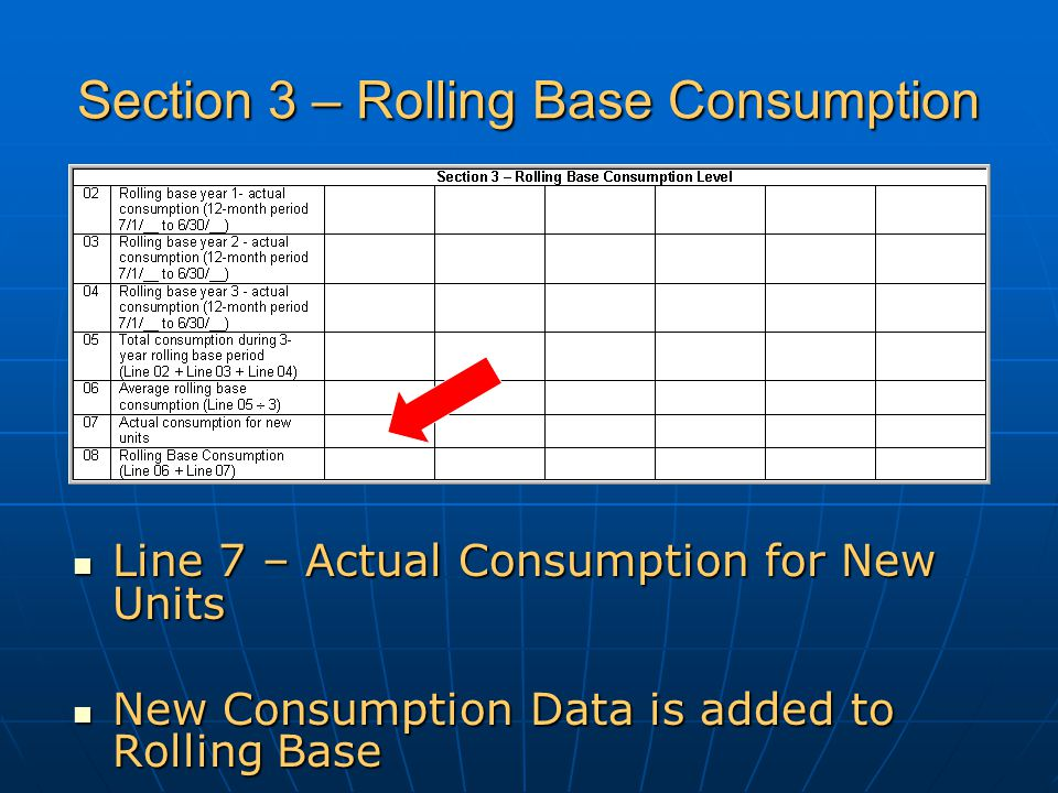 Section 3 – Rolling Base Consumption