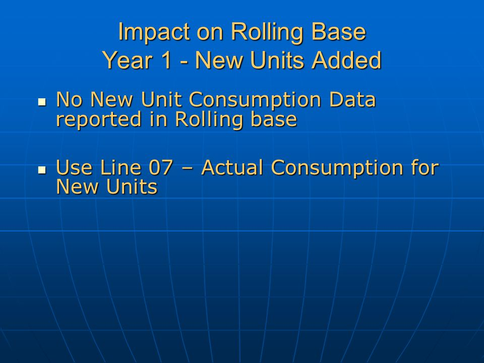 Impact on Rolling Base Year 1 - New Units Added