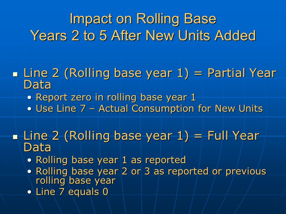 Impact on Rolling Base Years 2 to 5 After New Units Added