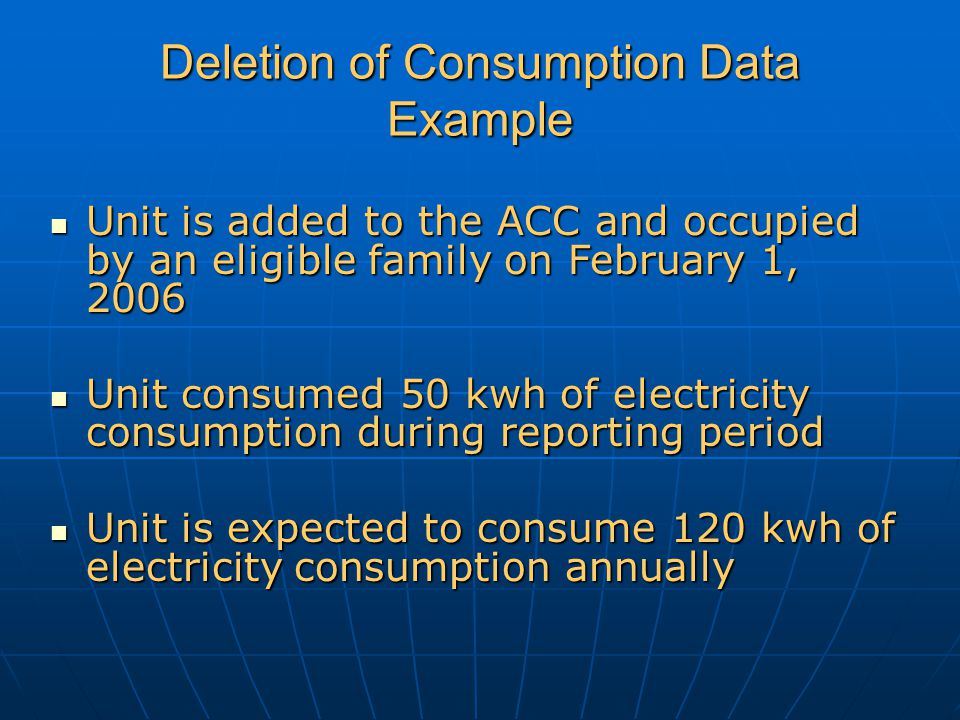 Deletion of Consumption Data Example