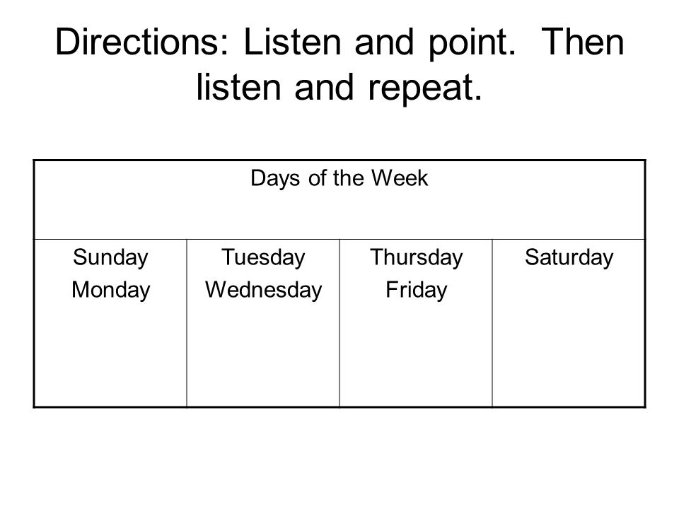 Directions: Listen and point. Then listen and repeat.