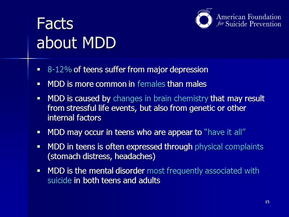 Facts about MDD 8-12% of teens suffer from major depression