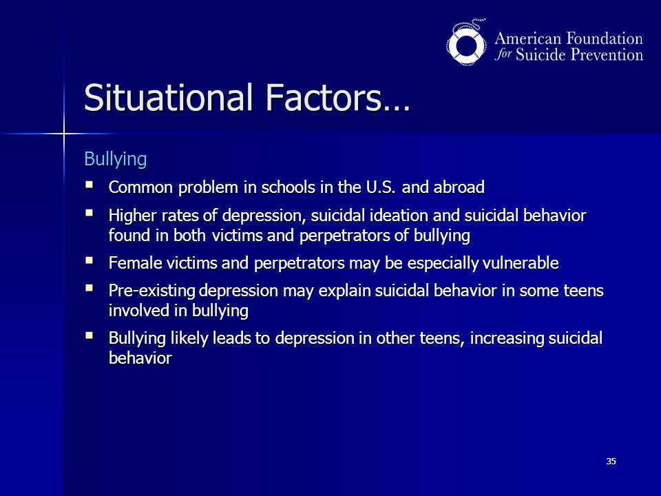 Situational Factors… Bullying