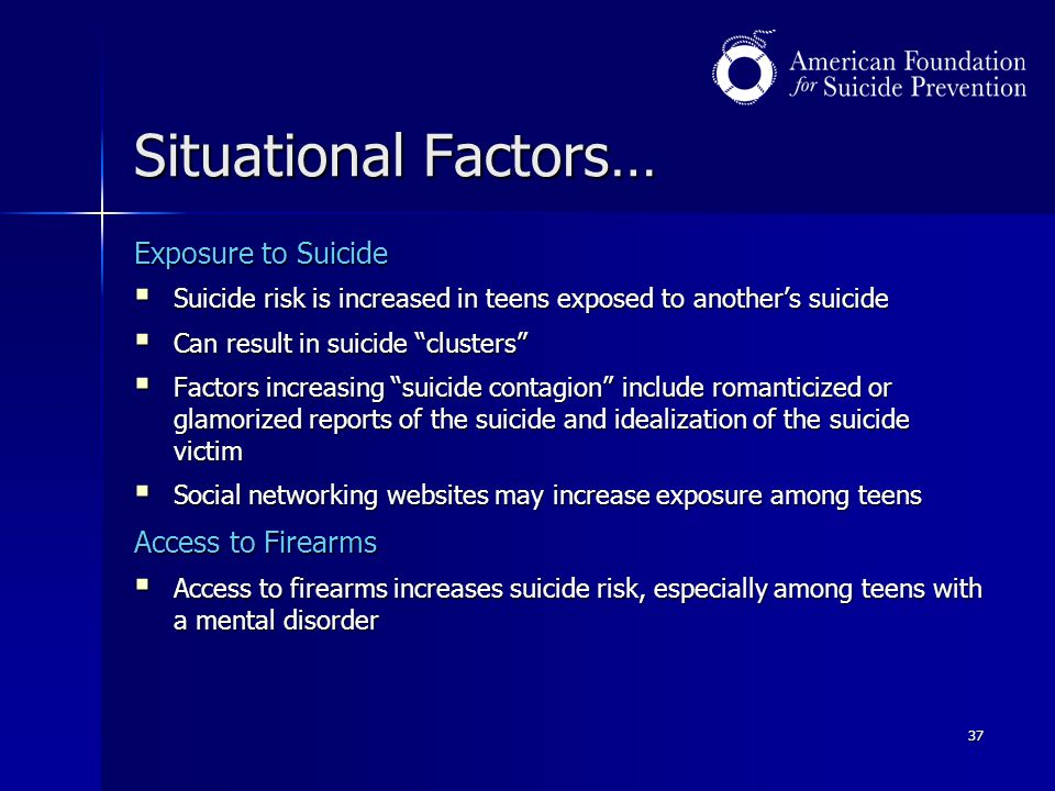 Situational Factors… Exposure to Suicide Access to Firearms