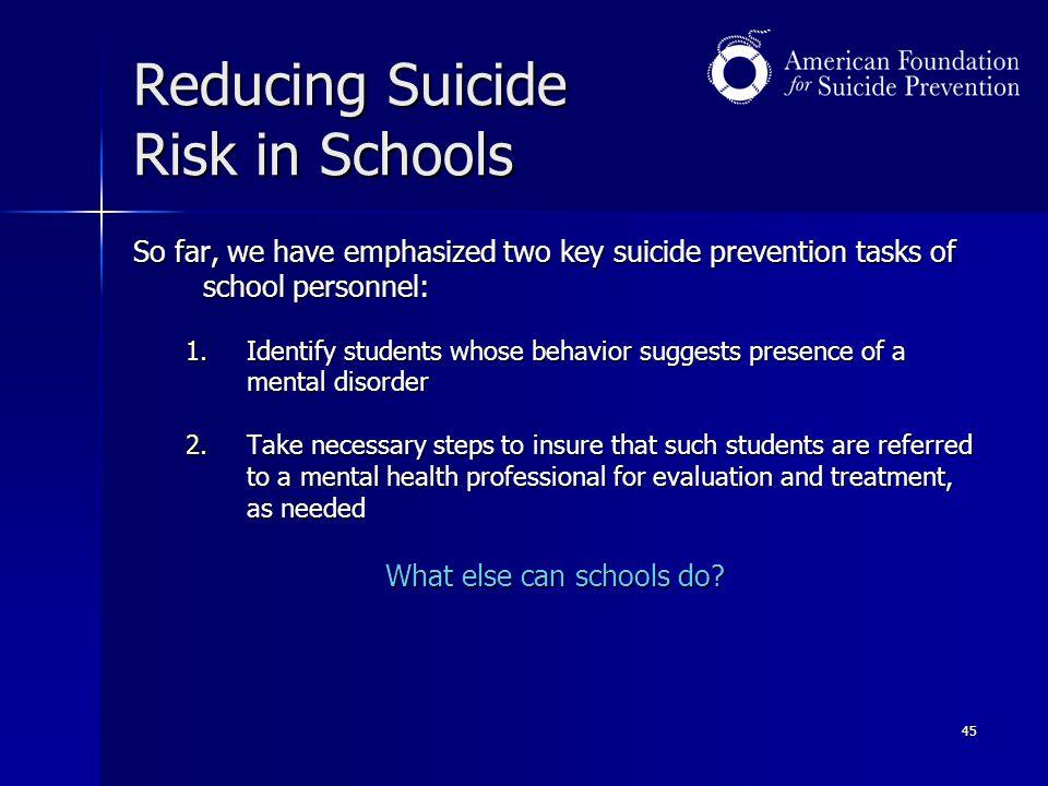 Reducing Suicide Risk in Schools