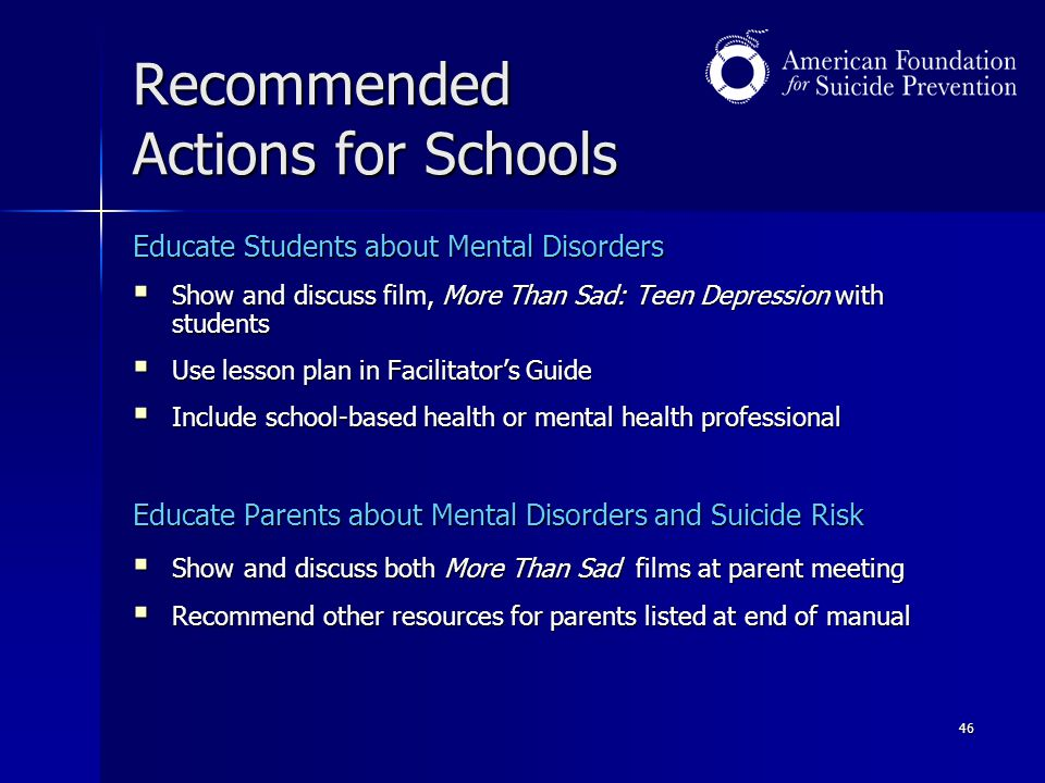 Recommended Actions for Schools