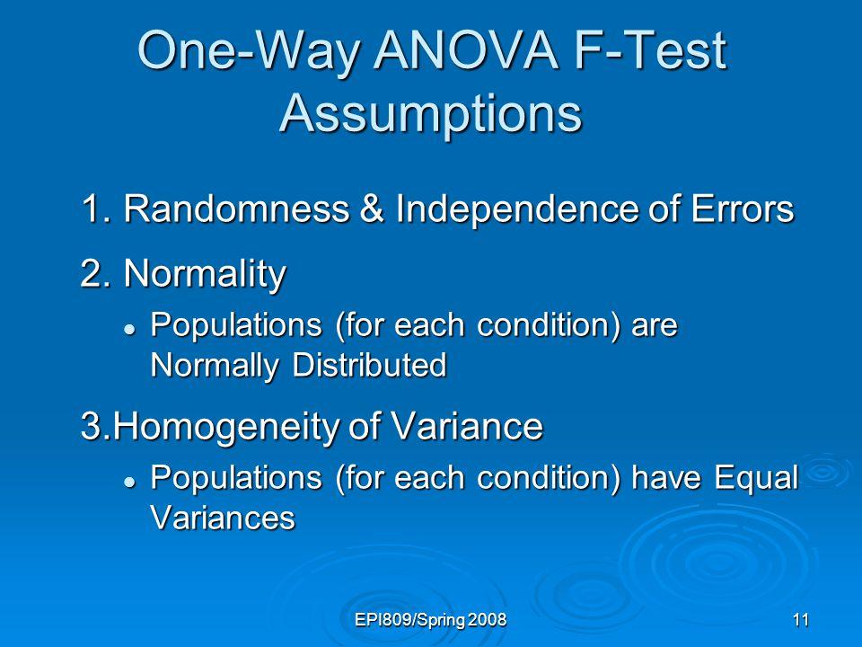 One-Way ANOVA F-Test Assumptions