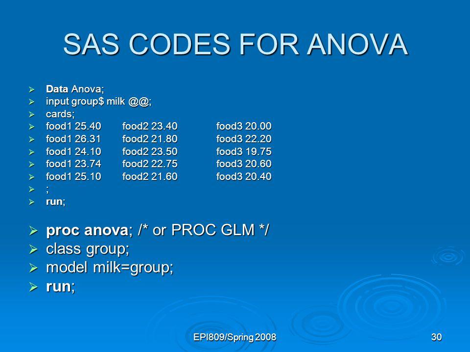 SAS CODES FOR ANOVA proc anova; /* or PROC GLM */ class group;