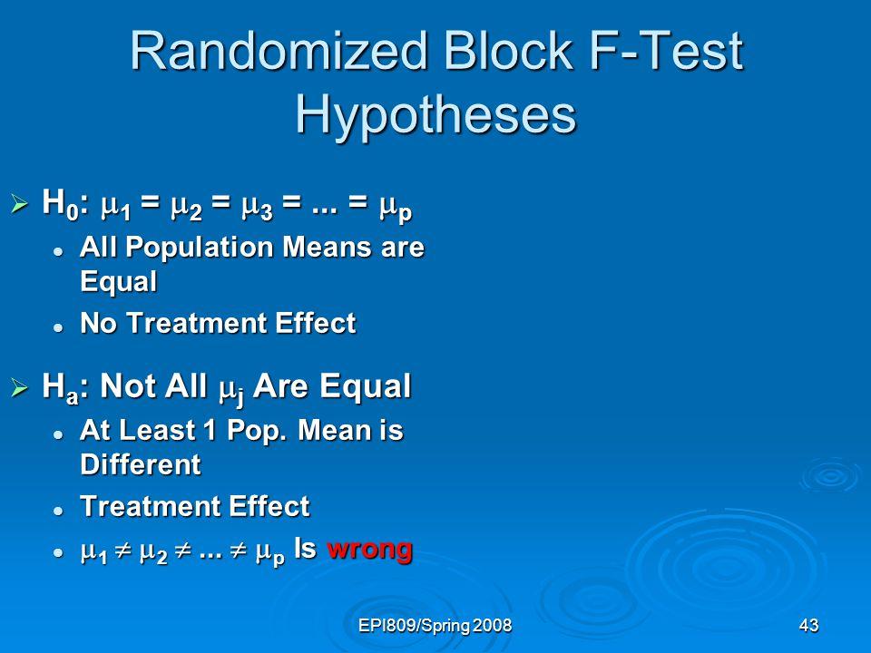 Randomized Block F-Test Hypotheses