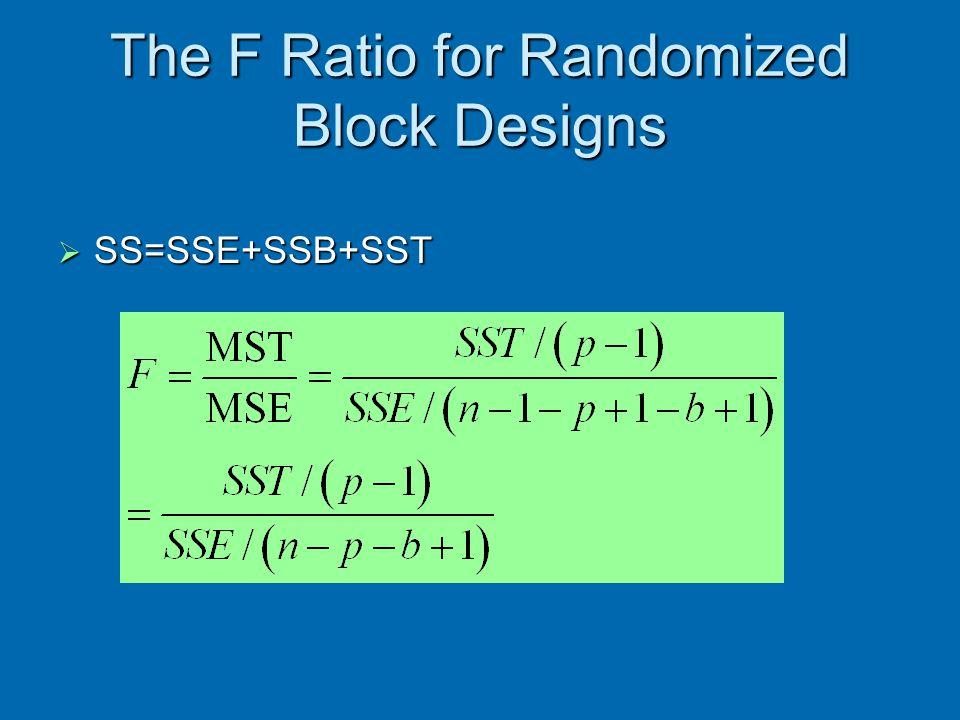 The F Ratio for Randomized Block Designs