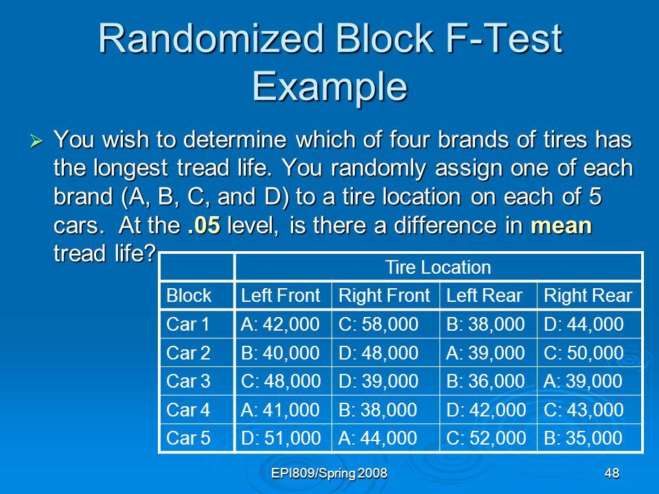 Randomized Block F-Test Example