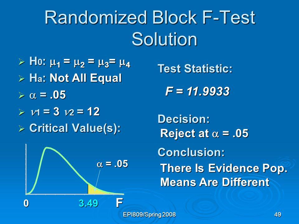 Randomized Block F-Test Solution