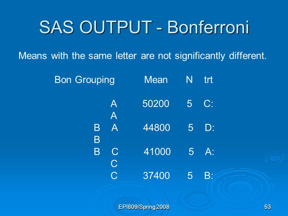 SAS OUTPUT - Bonferroni
