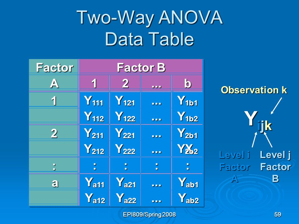 Two-Way ANOVA Data Table