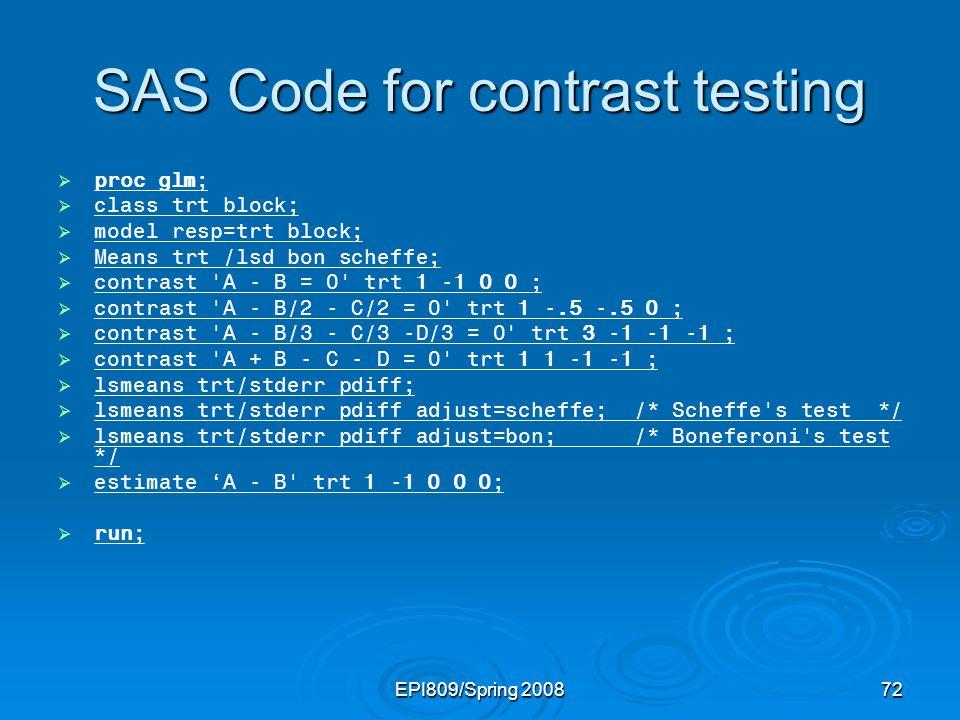 SAS Code for contrast testing