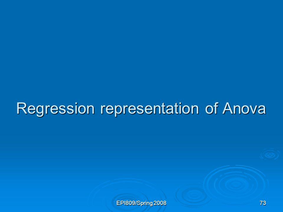Regression representation of Anova