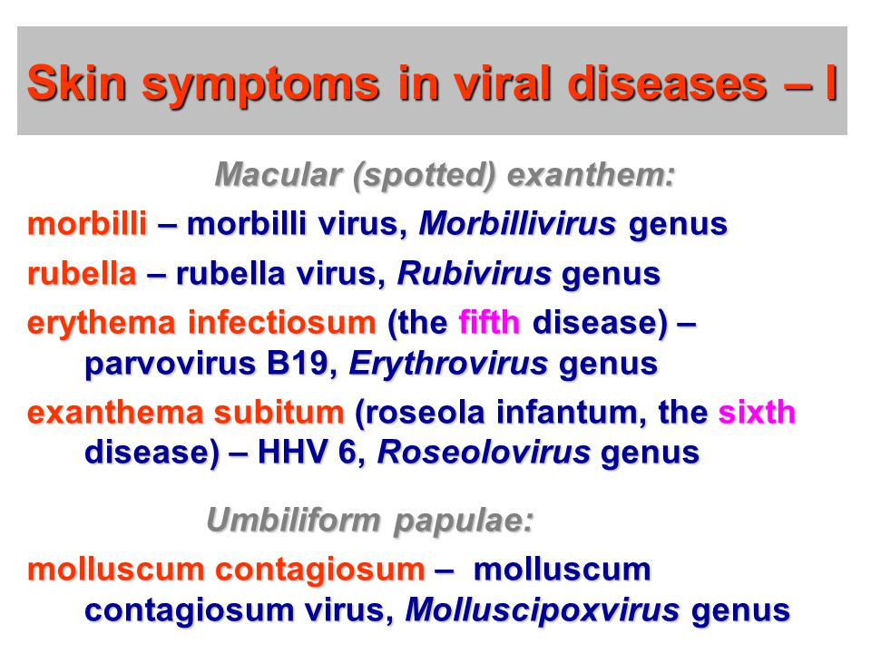 Skin symptoms in viral diseases – I