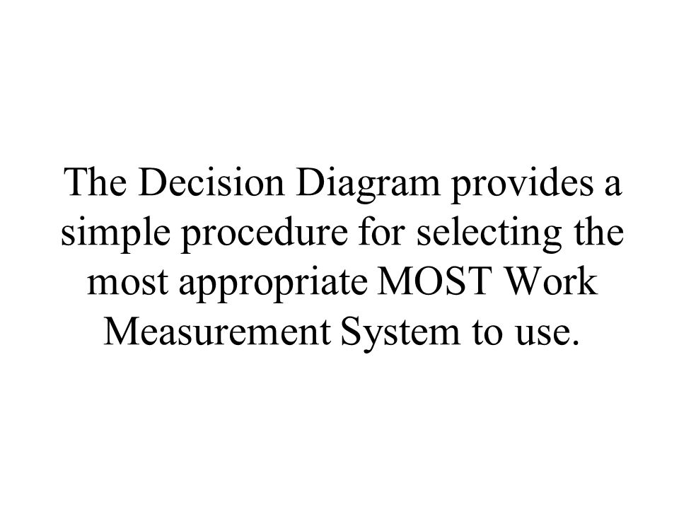 The Decision Diagram provides a simple procedure for selecting the most appropriate MOST Work Measurement System to use.