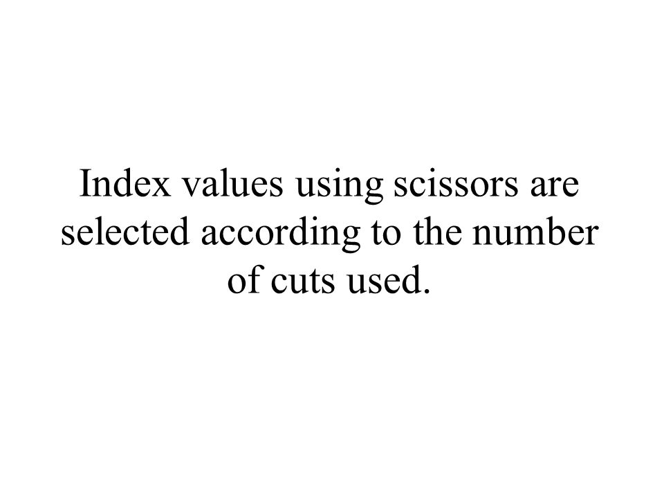 Index values using scissors are selected according to the number of cuts used.