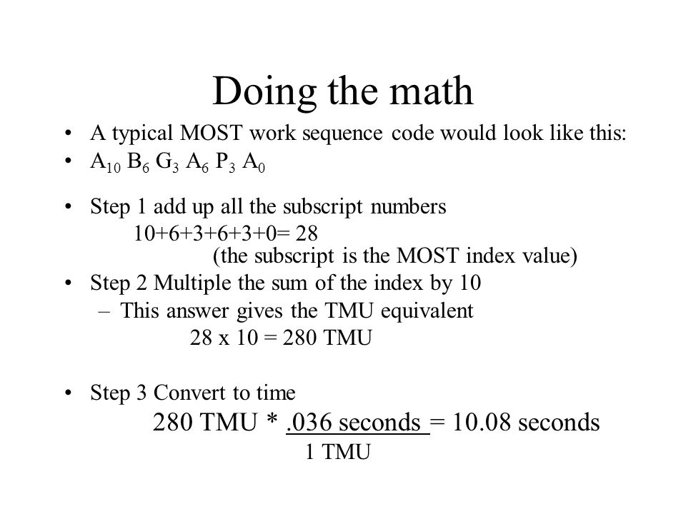 Doing the math 280 TMU * .036 seconds = 10.08 seconds