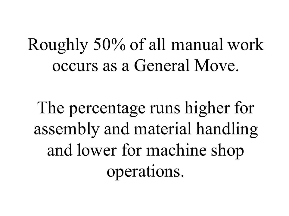 Roughly 50% of all manual work occurs as a General Move