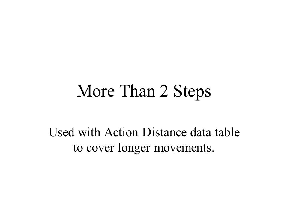 Used with Action Distance data table to cover longer movements.