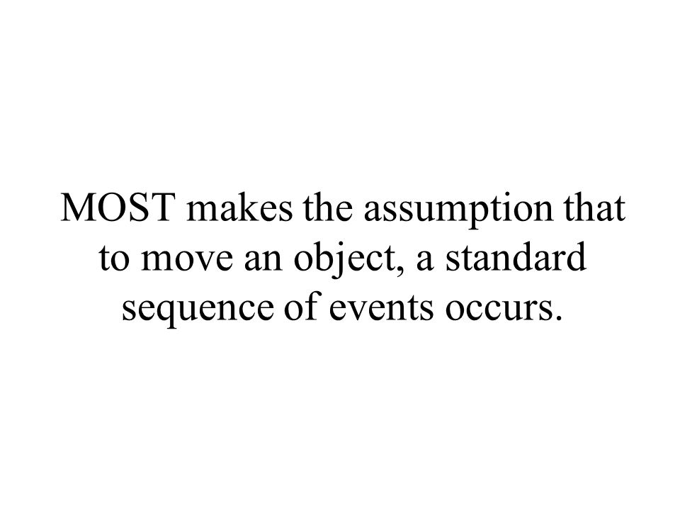 MOST makes the assumption that to move an object, a standard sequence of events occurs.