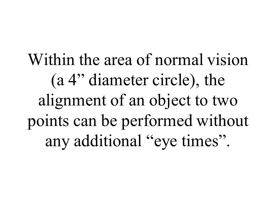 Within the area of normal vision (a 4 diameter circle), the alignment of an object to two points can be performed without any additional eye times .