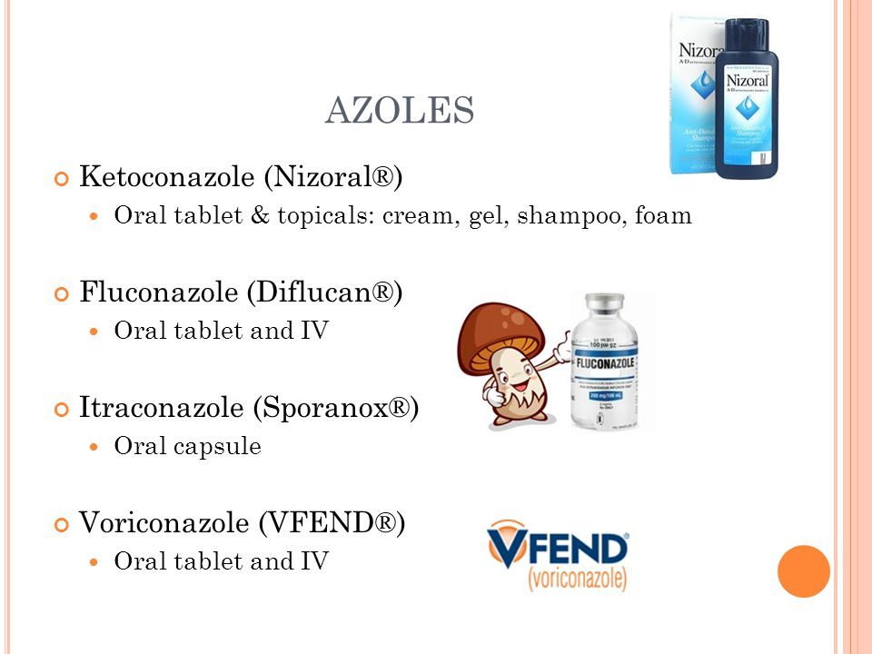 AZOLES Ketoconazole (Nizoral®) Fluconazole (Diflucan®)