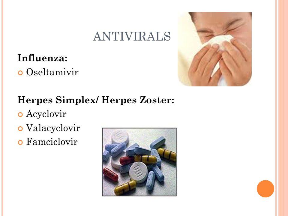 ANTIVIRALS Influenza: Oseltamivir Herpes Simplex/ Herpes Zoster: