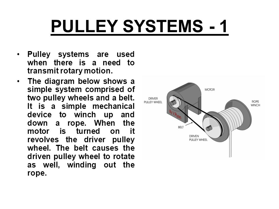 PULLEY SYSTEMS - 1 Pulley systems are used when there is a need to transmit rotary motion.