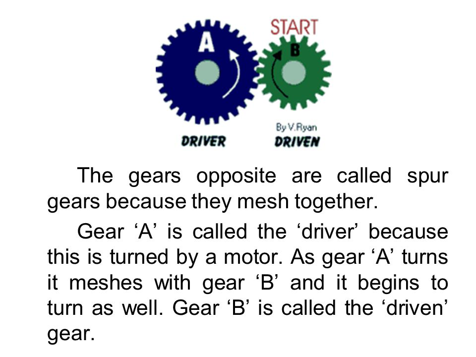 The gears opposite are called spur gears because they mesh together.