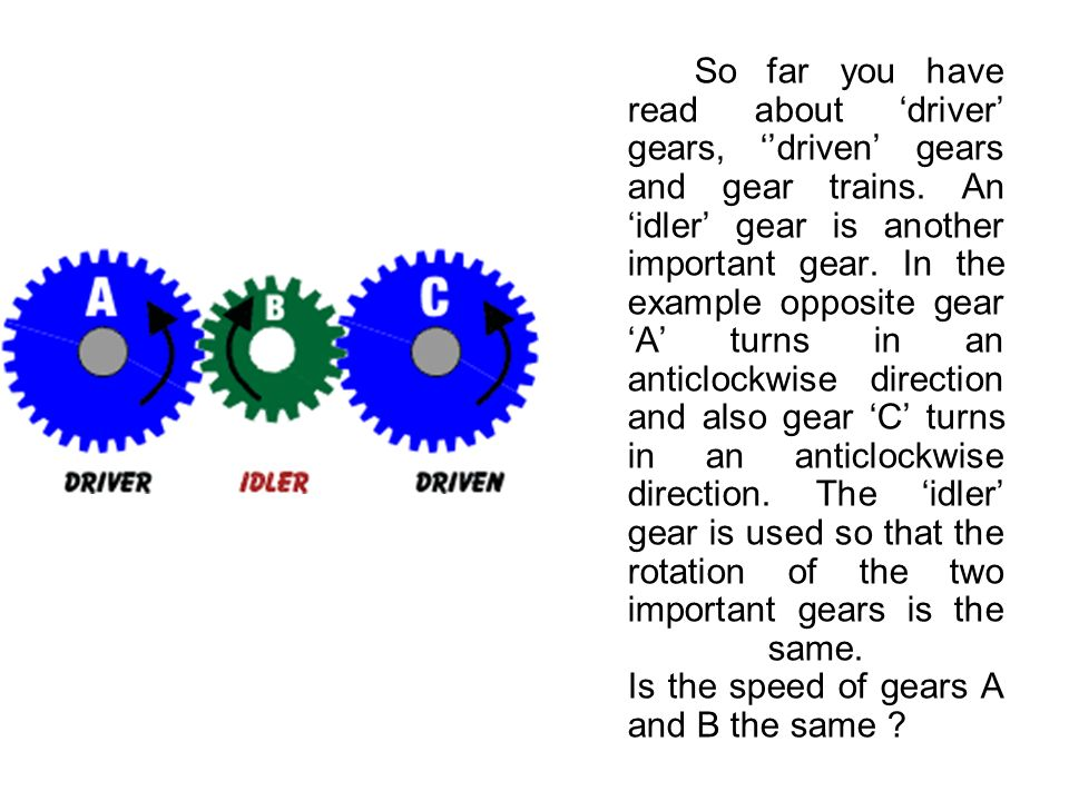 So far you have read about 'driver' gears, ''driven' gears and gear trains.