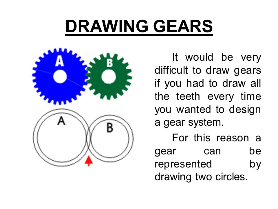 DRAWING GEARS It would be very difficult to draw gears if you had to draw all the teeth every time you wanted to design a gear system.