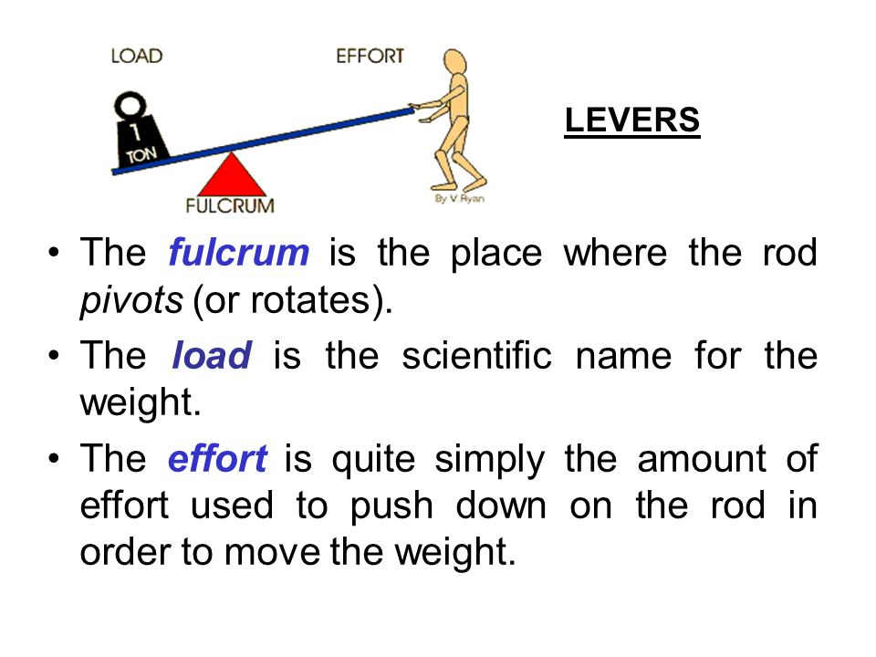 The fulcrum is the place where the rod pivots (or rotates).