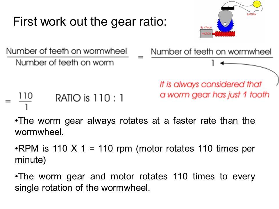 First work out the gear ratio: