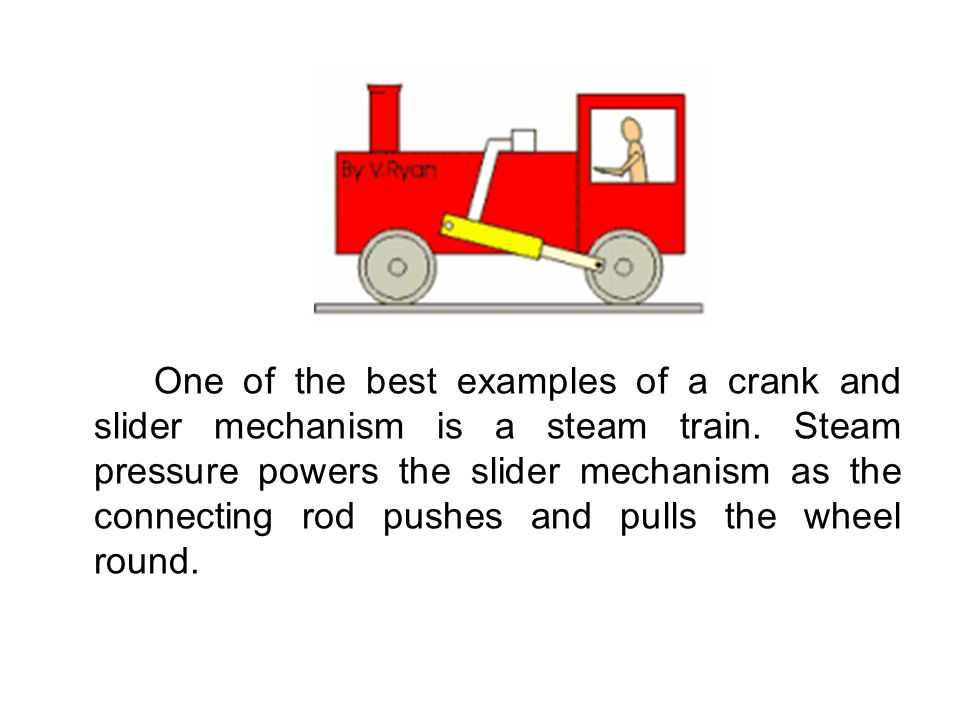 One of the best examples of a crank and slider mechanism is a steam train.