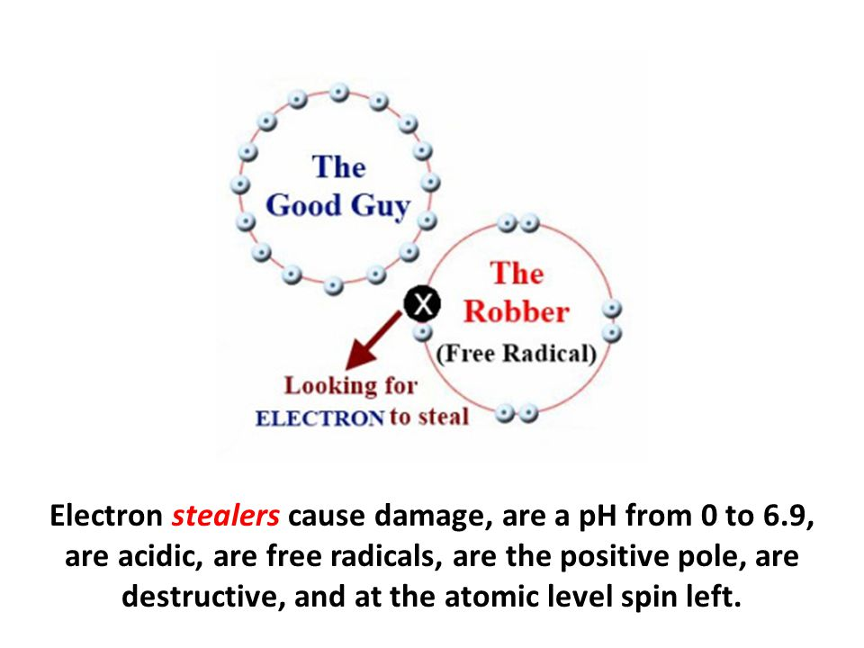 Electron stealers cause damage, are a pH from 0 to 6