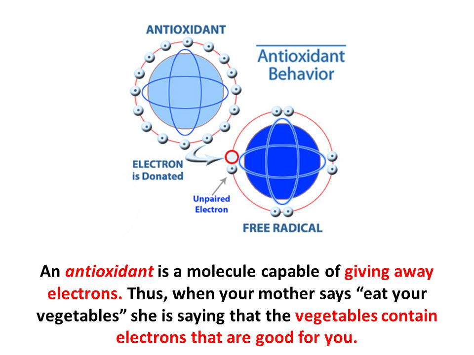 An antioxidant is a molecule capable of giving away electrons