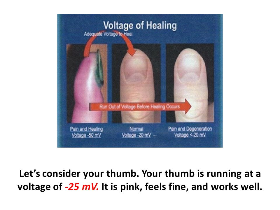 Let's consider your thumb. Your thumb is running at a voltage of -25 mV.