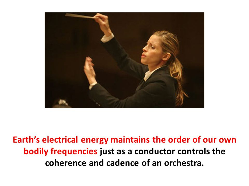 Earth's electrical energy maintains the order of our own bodily frequencies just as a conductor controls the coherence and cadence of an orchestra.
